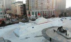 بناء حاملة طائرات من الثلج في الصين!